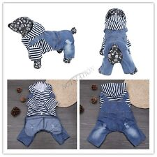 Dog Stripe Jeans Hoodie Jacket Coat Pet Supplies Apparel Clothes Costume Warm
