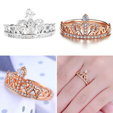 Chic Women Jewelry Princess Environmental Copper Crown Zircon Finger Ring