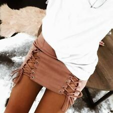 Women Double Side Lace Up Summer Above Knee Leisure Mini Skirts