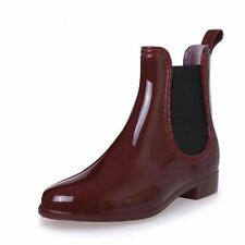 HEE GRAND Fashion RainBoots Pointed Toe Women Rubber Ankle Boots Slip On Platfor