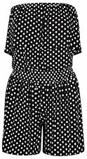 New Ladies Polka Dot Frill Bandeau Boob Tube Top Short Jumpsuit Playsuit 8-22