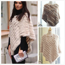 Women's Real Rabbit Fur Knitted Cape Stole Shawl Poncho Scarf Wrap Coat Quality