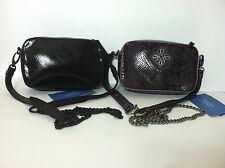 NWT Simply Vera Wang Geogie Box Crossbody Handbag Black or Eggplant Python Purse