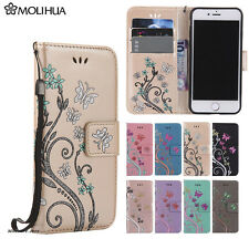 Card Holder Leather Flip Wallet Case Cover Stand Girl Floral For iPhone &Samsung