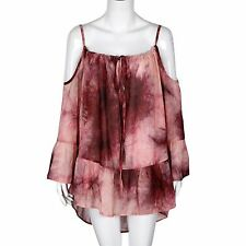 PLUS SIZE COLD SHOULDER TIE DYE CHIFFON BEACH COVER UP LONG SLEEVE TOP DRESS