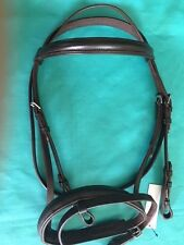 Dark Brown English Padded Dressage Leather Bridle PONY, COB & HORSE & Web Reins