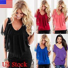 Womens Summer Cold Shoulder Short Sleeve Chiffon Blouse T Shirt Top Casual Tee
