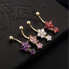 Star Flower Body Piercings Jewelry Women's Sexy Belly Button Ring Hot Navel Bar
