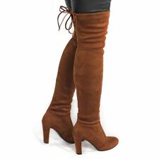 Women Thigh High Boots Over The Knee Boot Stretch Flock High Heels Shoes