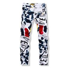 Vogue Mens Floral Slim Graffiti Washed Mid-Rise Denim Bar Jeans Pants New Size