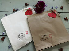 Wedding Favour Sweet Candy Bags Personalised Rustic Vintage Brown White Cake