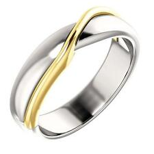 14k Two Tone Gold Twisted Wedding Band Ring