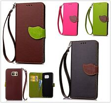 Vogue Leaf Flip Leather Card Lanyard Wallet For Smart Cellphone Pouch Phone Case
