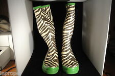 Women's,ZEBRA Rain Boots,Ballard Designs,New w/Green Carry Bag,Large,Med,Small