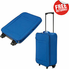 Blue Lightweight Wheeled Hand Luggage Cabin Bag Suitcase Travel Flight Carry On