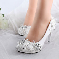 Women Gorgeous Wedding Bridal Evening Party Crystal High Heels Shoes