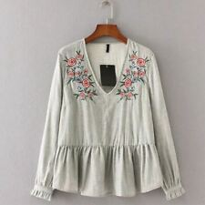 Women Floral Embroidery Blouses Deep V Long Sleeve Shirts Ruched Tops