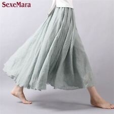 New Vintage Bohemia Linen Pleated Women Floor-length Long Maxi Skirt