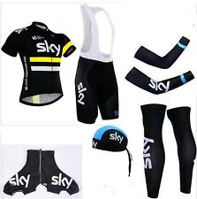 Sky Pro Team Replica Cycling Jersey and Bib Shorts Set, Warmers, Cap, S to 4 XL