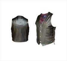 Mens Retro Brown Leather Vest Side Laced Motorcycle Biker Buffalo