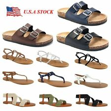 Women's Gladiator Sandals Summer Shoes Flip Flops Thong T Strap Flat Strappy Toe