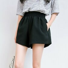 Summer Women Cotton Line High Waisted Hot Pants Elasticated Wide Leg Shorts