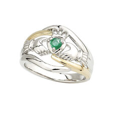 Irish Made Ring – Ladies 14k Gold Two Tone Emerald Claddagh Ring s2918