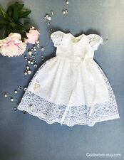 Baby white lace christening gown