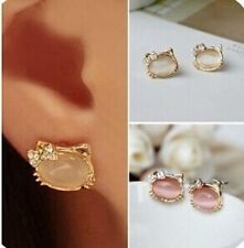 HELLO KITTY PINK WHITE CRYSTAL BOWKNOT OPAL CAT STUD EARRINGS JEWELRY