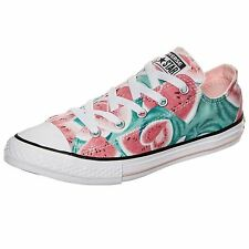 Converse Chuck Taylor All Star Ox Vapor Pink Green Glow Youth Canvas Trainers