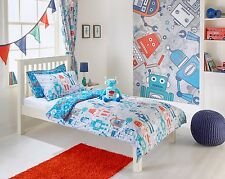 ROBOT Kids theme bedroom includes duvet cover, pillow curtains wall mural & toy