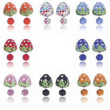 Shining  6 pairs earrings Strawberry Bling Double Sided Two Ball Stud Rhinestone