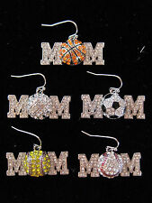MOM EARRINGS Volleyball Soccer Basketball Baseball Softball Rhinestones BLING!