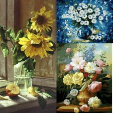 """Paint By Number Flowers Kit Oil Painting On Canvas Floral Art DIY Craft 16X20"""""""