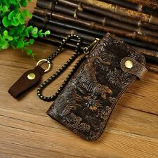 Men Real Cowhide Leather Retro Bifold Chain Biker Wallet Dragon Tiger Embossed