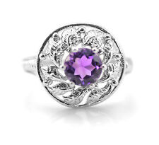 925 Sterling Silver Ring with Amethyst Round Natural Gemstone Handcrafted eBay.