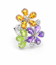 925 Sterling Silver Ring with Citrine Amethyst Peridot Multicolor Gemstones.
