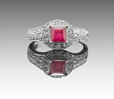 925 Sterling Silver Ring with Emerald Cut Red Ruby Natural Gemstone Handmade.