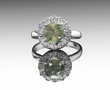 925 Sterling Silver Ring with Round Natural Green Tourmaline Gemstone Handmade.