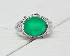 925 Sterling Silver Ring with Round Cut Natural Green Onyx Handmade Contemporary