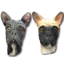 French Bulldog Dog Mask Full Head Deluxe Latex Animal Masks Fancy Dress Costume