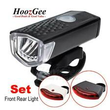 LED Bike Bicycle Cycling USB Rechargeable Front Light & Smart Rear Tail Lamp Set