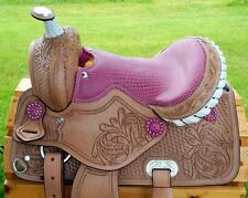 "12"" Med Oil + PINK GATOR SEAT +BLIING conchos Western PONY MINI TRAIL Saddle"
