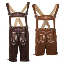 Trachten Authentic German Bavarian Mens Lederhosen Suede Brown Suspender Shorts