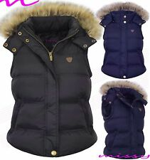 Womens GILET BODYWARMER LADIES QUILTED COAT PUFFER FUR HOODED JACKET PARKA SIZE