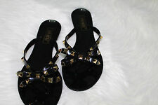 Black Jelly Bow Studded Sandals