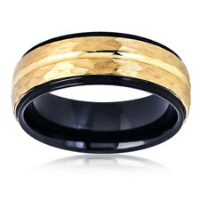 Tungsten Carbide Wedding Band Ring 8mm  Black Hammered Yellow Tone