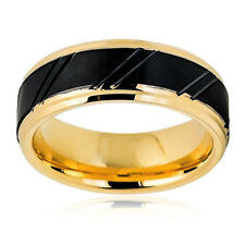 Men Women Tungsten Carbide Wedding Band Ring 8mm Yellow Tone Brushed Black Ring