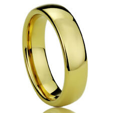 Men Women Tungsten Carbide Wedding Band Ring 5mm Domed Yellow Tone Ring