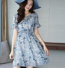 New Elegant Printed Stitching Chiffon  Short Sleeve Bow Women Dress